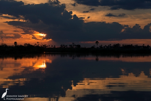 A beautiful sunset on the Okavango Delta, Baines Camp, Botswana.  April 2015. 1/250sec, f8.0, ISO 100